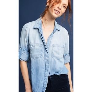 Anthropologie Cloth & Stone Chambray Pocket Shirt